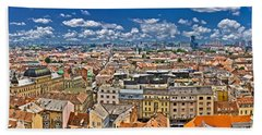 Zagreb Lower Town Colorful Panoramic View Beach Sheet by Brch Photography