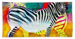 Zebra Colors Of Africa Beach Towel by Barbara Chichester