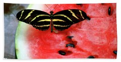 Zebra Longwing Butterfly On Watermelon Slice Beach Towel