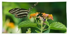 Beach Towel featuring the photograph Zebra Longwing by Jane Luxton