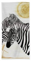 Beach Sheet featuring the painting Zebra Quintet by Stephanie Grant