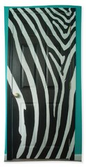 Zebra Stripe Mural - Door Number 1 Beach Towel by Sean Connolly