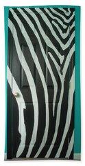 Zebra Stripe Mural - Door Number 1 Beach Sheet by Sean Connolly