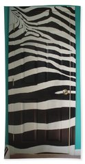Zebra Stripe Mural - Door Number 2 Beach Towel by Sean Connolly