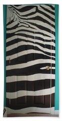 Zebra Stripe Mural - Door Number 2 Beach Sheet by Sean Connolly