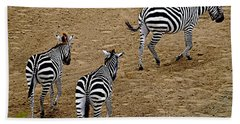 Beach Towel featuring the photograph Zebra Tails by AJ  Schibig