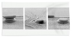 Zen Black And White Triptych Beach Towel