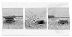 Zen Black And White Triptych Beach Sheet