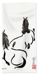 Zen Horses Retired Beach Towel