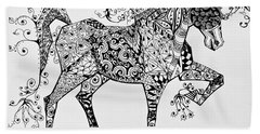 Zentangle Circus Horse Beach Sheet