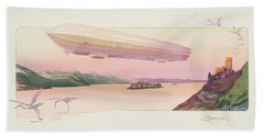 Zeppelin, Published Paris, 1914 Beach Towel