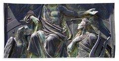 Beach Towel featuring the photograph Zeus Bronze Statue Dresden Opera House by Jordan Blackstone
