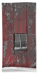 Zink Rd Barn Window Bw Red Beach Towel