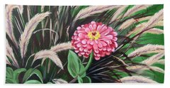 Zinnia Among The Grasses Beach Towel