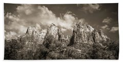 Beach Towel featuring the photograph Zion Court Of The Patriarchs In Sepia by Tammy Wetzel