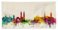 Zurich Switzerland Skyline Beach Towel