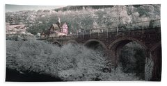 Beach Sheet featuring the photograph  Infrared Train Station Bridge by Beverly Cash