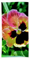 Pink And Yellow Pansy Beach Sheet