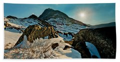 Spring Snows At Tryfan Beach Towel