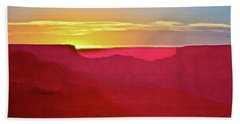 Beach Towel featuring the painting   Sunset At Grand Canyon Desert View by Bob and Nadine Johnston