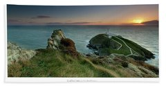 Sunset At South Stack Lighthouse Beach Towel