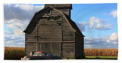 Vintage Cadillac And Barn Beach Towel by Lyle Hatch