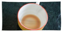A Cup With The Remains Of Tea On A Green Table Beach Towel by Ashish Agarwal