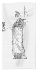 Athena, Greek Goddess Beach Sheet by Photo Researchers