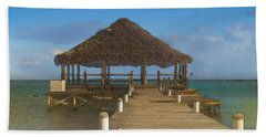 Beach Deck With Palapa Floating In The Water Beach Sheet
