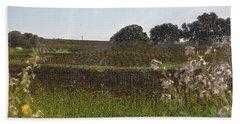 Beautiful California Vineyard Framed With Flowers Beach Sheet