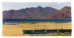 Boats On South China Sea Beach Beach Towel by Amelia Racca