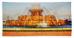 Buckingham Fountain Beach Towel by Dan Stone