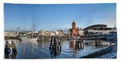 Cardiff Bay Panorama Beach Towel by Steve Purnell