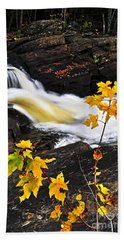 Forest River In The Fall Beach Towel