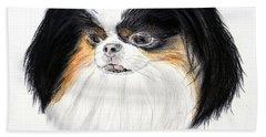Japanese Chin Dog Portrait Beach Sheet by Jim Fitzpatrick