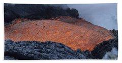 Lava Flowing Into Sea, Kilauea Volcano Beach Towel