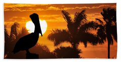 Beach Sheet featuring the photograph Pelican At Sunset by Dan Friend
