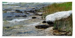 Quiet Waves Along The Shore Beach Sheet by Janice Adomeit