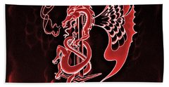 Red Dragon Sword II Beach Towel