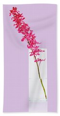 Red Orchid Bunch Beach Towel by Atiketta Sangasaeng