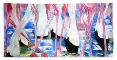 Rift Valley Flamingo Feeding Beach Towel