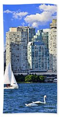 Sailing In Toronto Harbor Beach Sheet by Elena Elisseeva