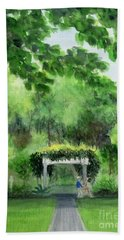 Beach Towel featuring the painting the garden at the wellers carriage house in Saline  Michigan 1 by Yoshiko Mishina