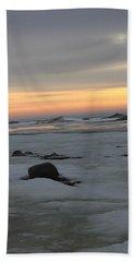 Winter Evening Lights Beach Sheet