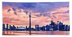 Toronto Sunset Skyline Beach Towel