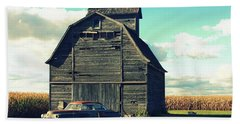 1950 Cadillac Barn Cornfield Beach Towel by Lyle Hatch