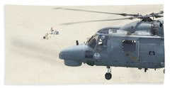 A Sea Lynx Helicopter Of The Portuguese Beach Towel