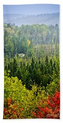 Fall Forest Rain Storm Beach Towel