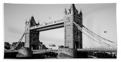 Helicopter At Tower Bridge Beach Towel by Dawn OConnor