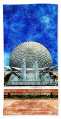 Beach Towel featuring the digital art Spaceship Earth And Fountain Of Nations by Sandy MacGowan